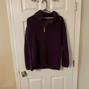 Purple fluffy half zip